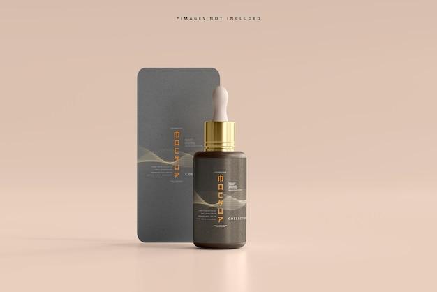 Frasco conta-gotas cosmético com maquete de cartão vertical