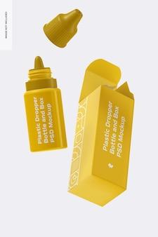 Frasco conta-gotas de plástico e maquete de caixa, flutuante