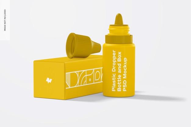 Frasco conta-gotas de plástico e maquete de caixa, vista frontal