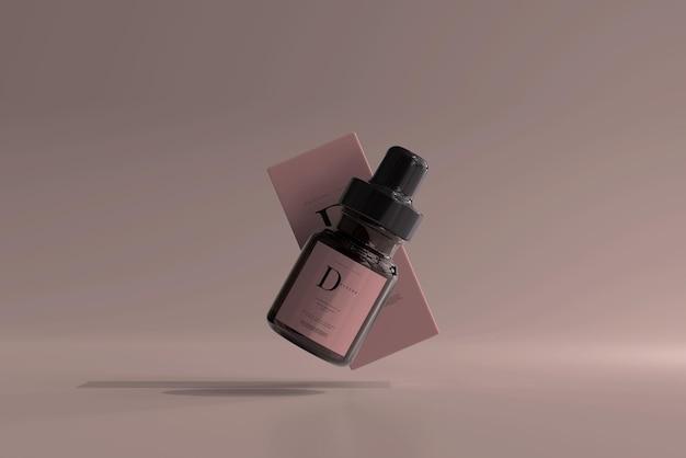 Frasco conta-gotas de vidro âmbar com maquete de caixa