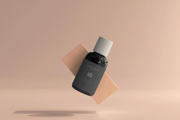 Frasco cosmético com caixa de maquete