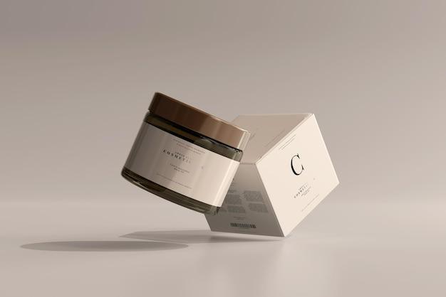 Frasco cosmético de vidro âmbar e maquete de caixa