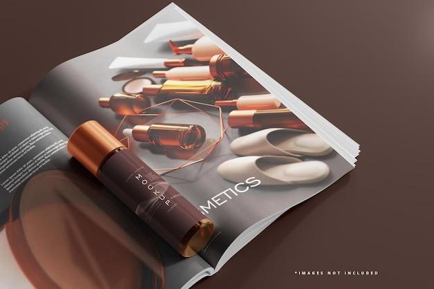 Frasco cosmético de vidro âmbar e maquete de revista
