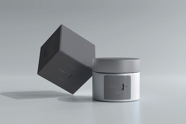 Frasco cosmético de vidro e maquete de caixa