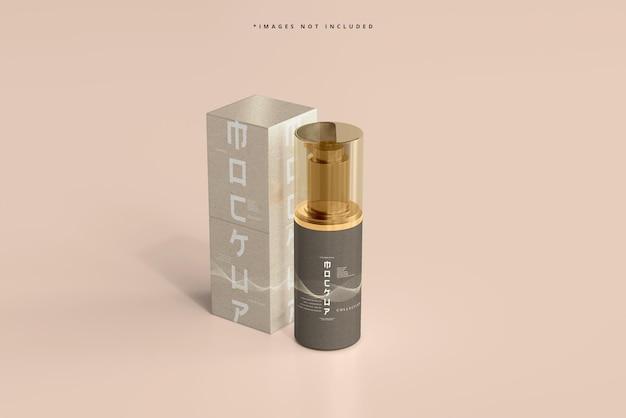 Frasco de bomba cosmética e maquete de caixa