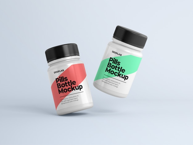 Frasco de comprimidos com maquete de design editável psd