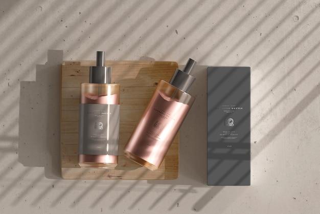 Frasco de creme cosmético com maquete de caixa