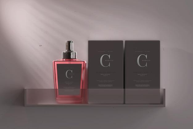 Frasco de perfume com caixa de maquete