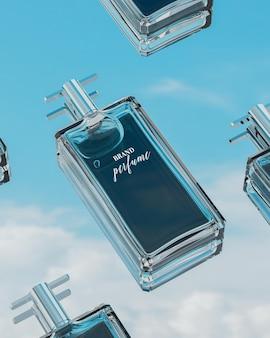 Frasco de perfume de maquete de logotipo com reflexo de céu azul nublado