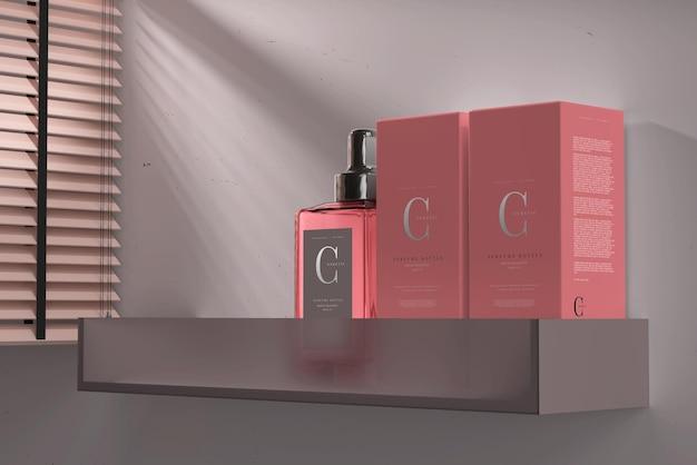 Frasco de perfume quadrado com caixa de maquete