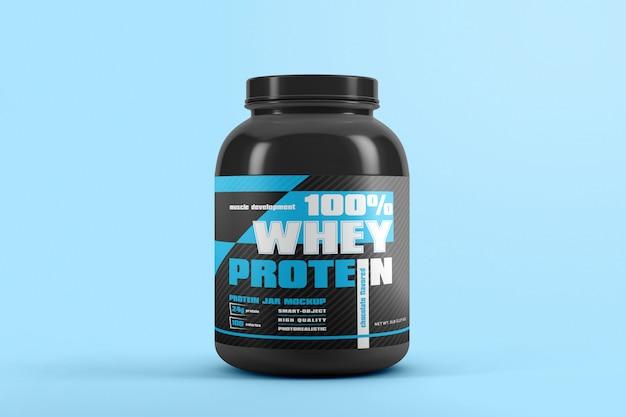 Frasco de proteína com maquete de rótulo