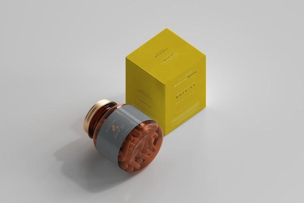 Frasco de remédio âmbar e maquete de caixa