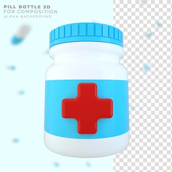 Frasco de remédio com renderização 3d