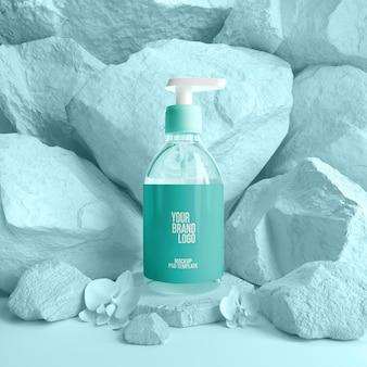 Frasco de sabão de modelo de maquete de cosméticos no pódio de rochas 3d render