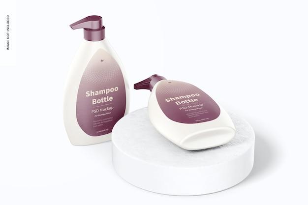 Frasco de shampoo com bomba de maquete, em pé e caído