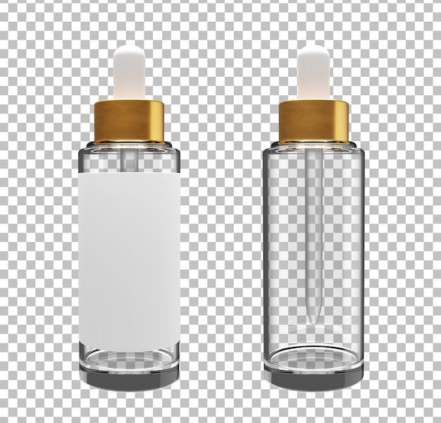 Frasco de soro cosmético vazio 3d com rótulo em branco
