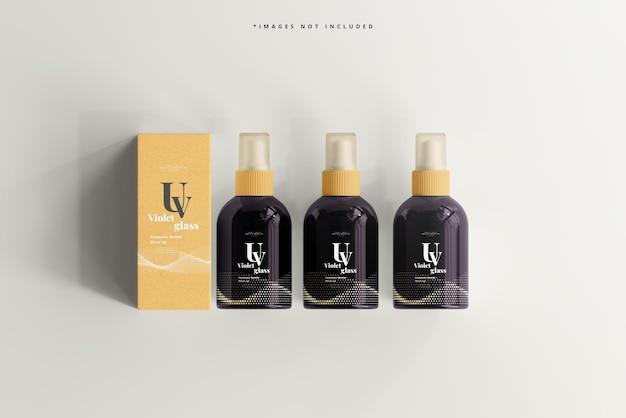Frasco de spray cosmético de vidro uv e maquete de caixa