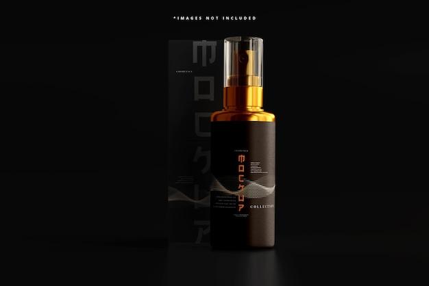 Frasco de spray cosmético e maquete de caixa