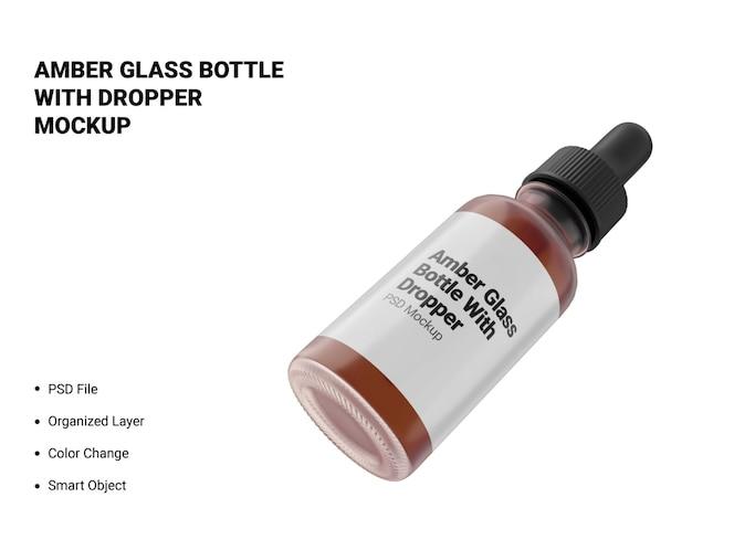 frasco de vidro âmbar com maquete conta-gotas