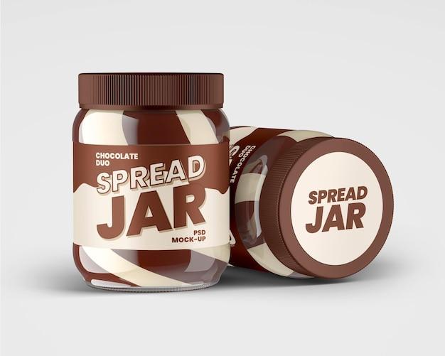 Frasco de vidro com pasta dupla de chocolate