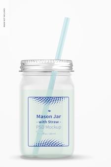 Frasco de vidro de 16 onças com maquete de palha