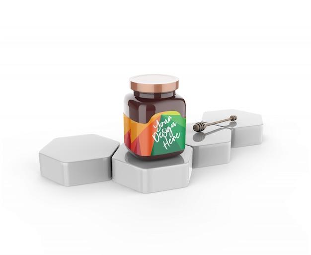 Frasco de vidro de mel com maquete do dipper