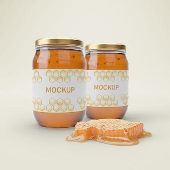 Frascos com mel orgânico