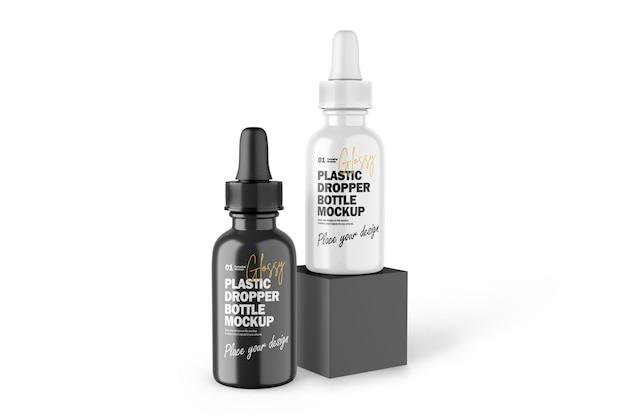 Frascos conta-gotas de plástico brilhante 3d maquete psd de produto cosmético