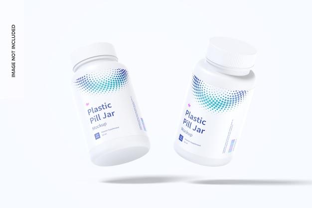 Frascos de comprimidos de plástico, maquete caindo