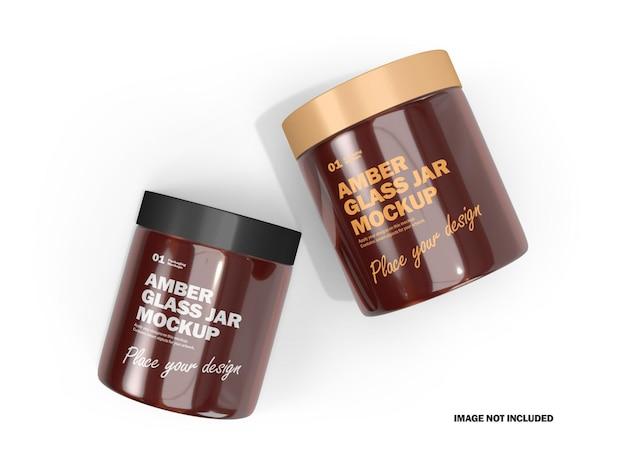 Frascos de creme 3d com maquete de produto cosmético de vidro âmbar