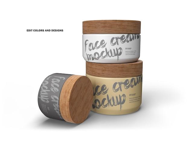 Frascos de creme 3d com tampas de madeira