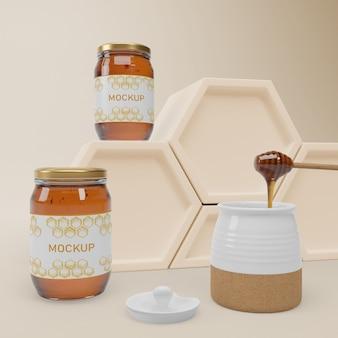 Frascos de mock-up com mel orgânico