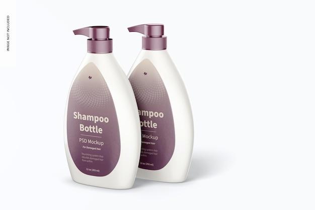 Frascos de shampoo com bomba de maquete
