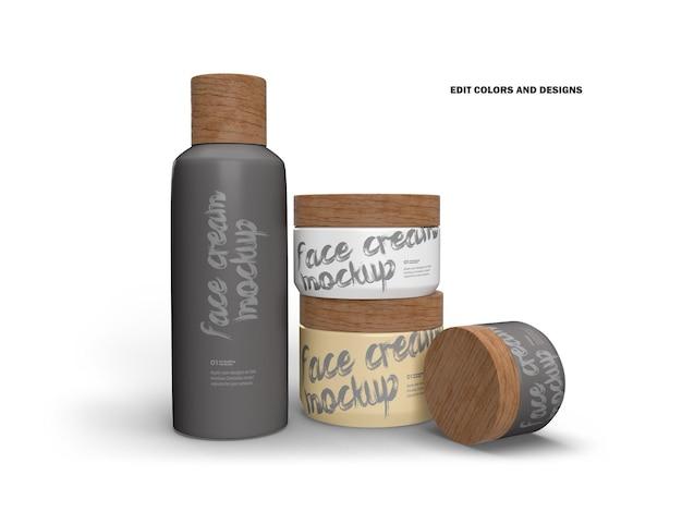 Frascos e garrafas de creme 3d com tampas de madeira