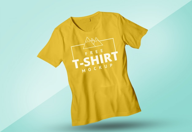 Free yellow tshirt mock up masculino e feminino