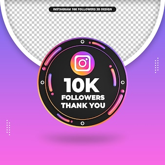 Frente 3d render 10 mil seguidores no design do instagram