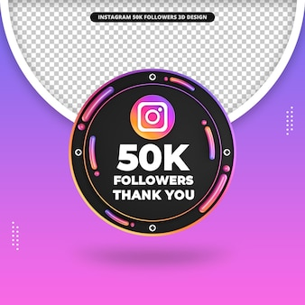 Frente 3d render 50 mil seguidores no design do instagram