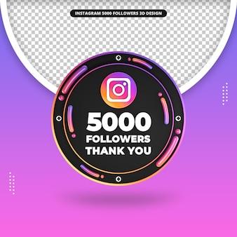 Frente 3d render 5000 seguidores no design do instagram