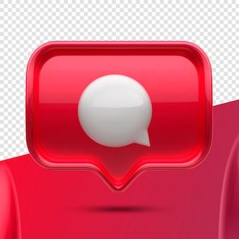 Frente do ícone 3d do balão de mensagem do instagram