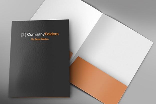 Frente e dentro da pasta corporativa modelo mockup psd livre