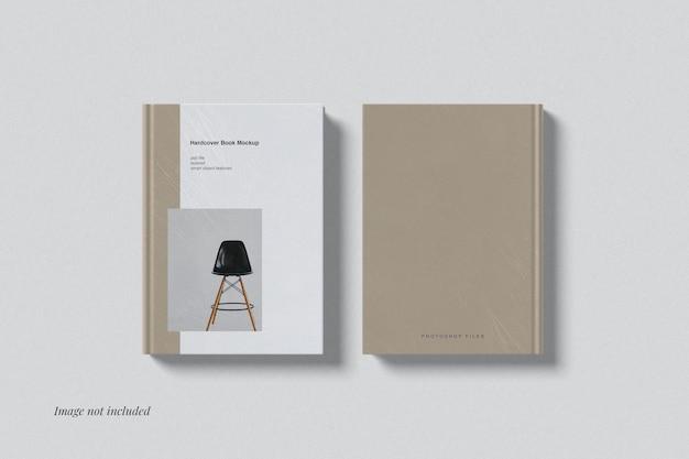 Frente e verso da maquete de livro de capa dura