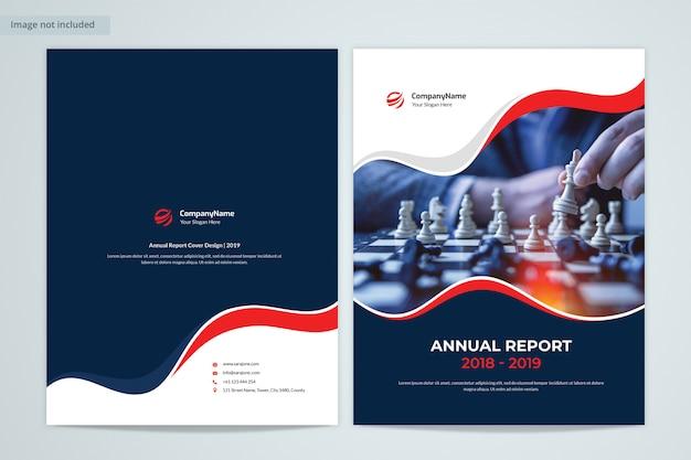 Frente e verso design de capa de relatório anual com imagem
