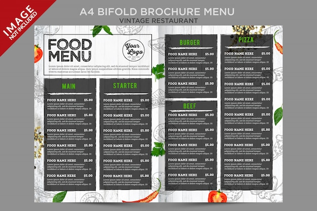 Fresh vintage brochure menu inside bifold series