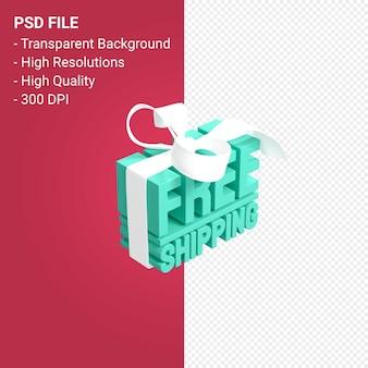 Frete grátis com projeto 3d de arco e fita isolado