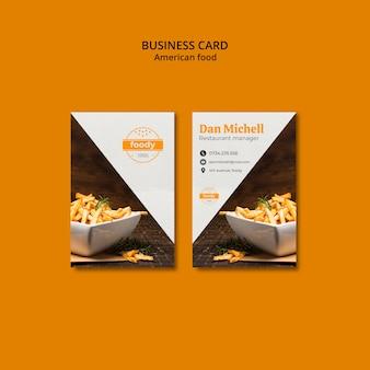 Frita o cartão de visita combinado do fast food