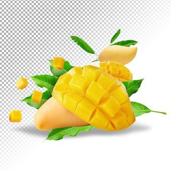 Fruta de manga com cubos de manga e fatias isoladas