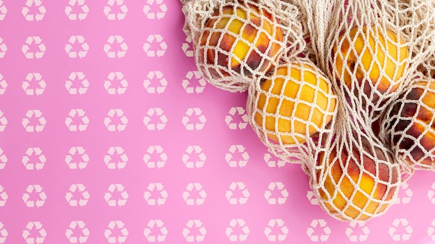 Fruta dentro de saco de tartaruga com maquete de fundo