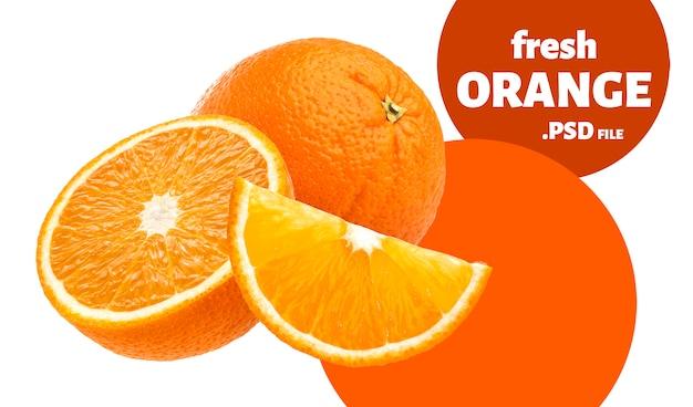Fruta laranja isolada na parede branca