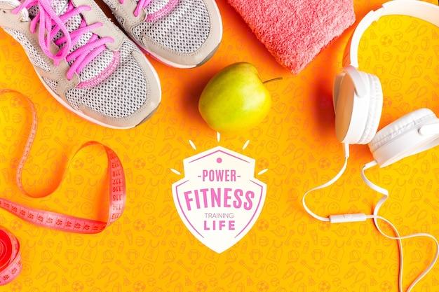 Fruta saudável e equipamentos de fitness