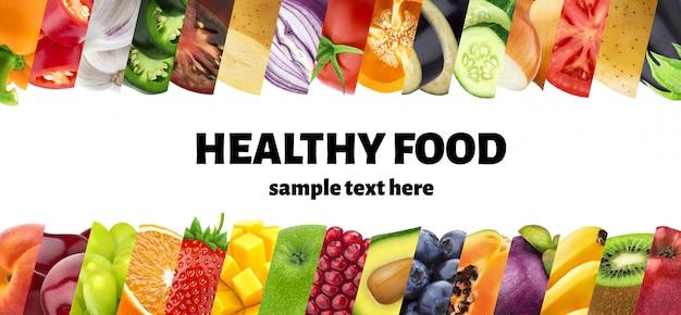 Frutas e legumes em colagem de closeups listras